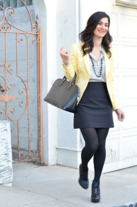 zara yellow blazer, polka dot blouse, cutout booties, louis viutton alma