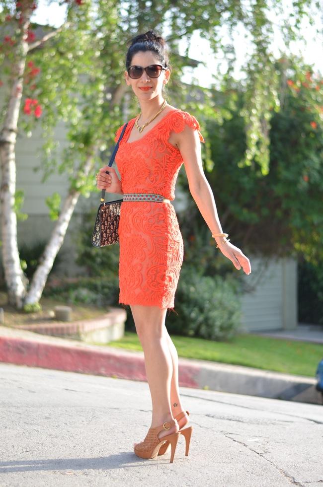 neon coral lace dress