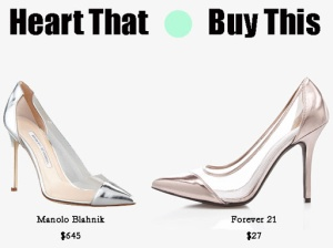 forever 21 clear metallic pump